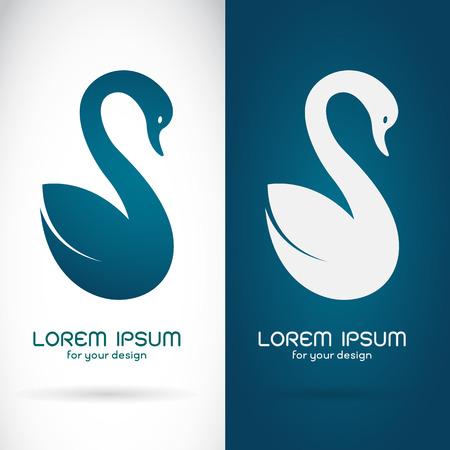 白い背景と青色の背景シンボル白鳥デザインのベクター画像