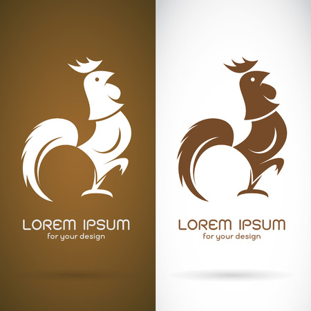 IMAGE: Vector image of an cock design on brown background and white background , Symbol Illustration