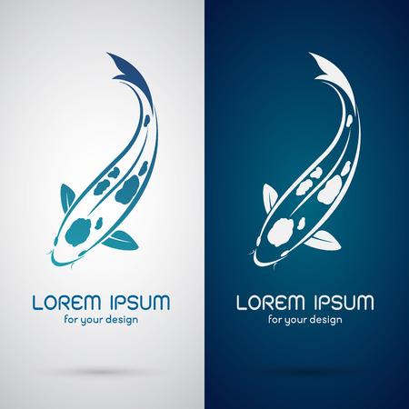pez carpa: Imagen vectorial de un diseño de la carpa koi en fondo blanco y fondo azul Símbolo Vectores