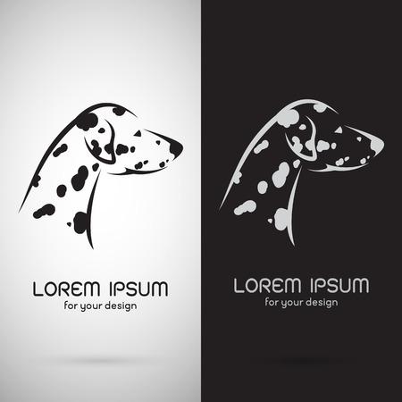 Imagen vectorial de un diseño dálmata del perro en el fondo blanco y el fondo negro, símbolo