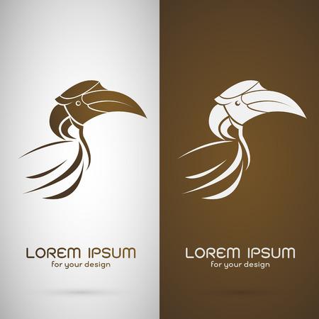 hornbill: Vector image of an hornbill design on white background and brown background,   Symbol Illustration