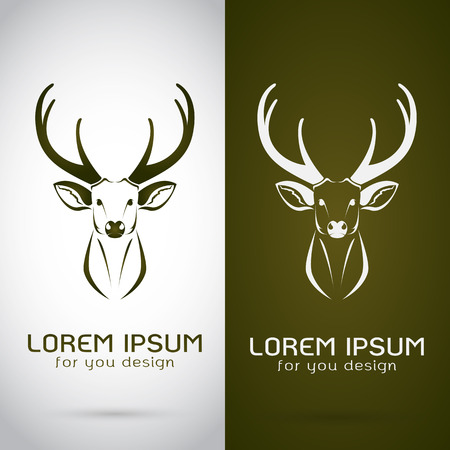 Vector image of an deer design on white background and brown background, Logo, Symbol Illustration