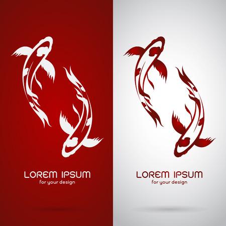 pez carpa: Imagen vectorial de un diseño de la carpa koi en fondo blanco y fondo rojo, logotipo, símbolo