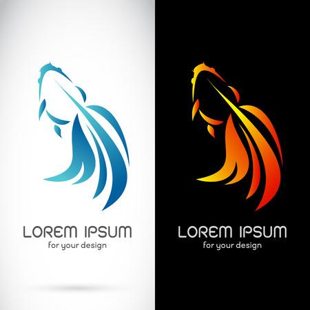 Vector image of an goldfish design on white background and black background, Logo, Symbol