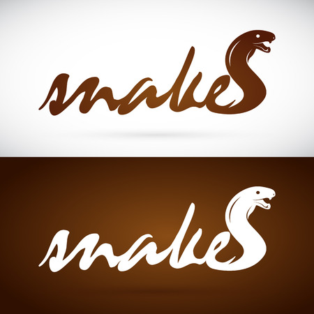 asp: Vector image of an design snake is text on white background and brown background, Logo, Symbol