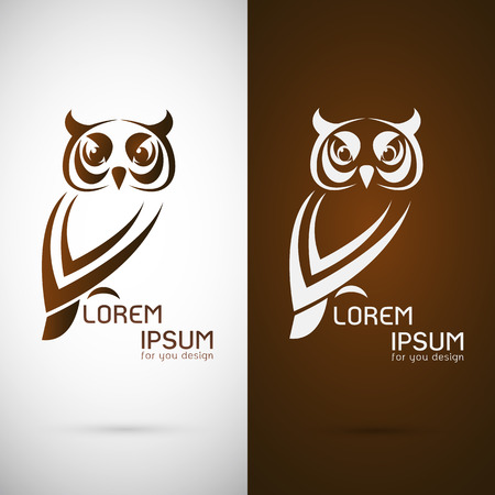 prey: Vector image of an owl design on white background and brown background, Logo, Symbol
