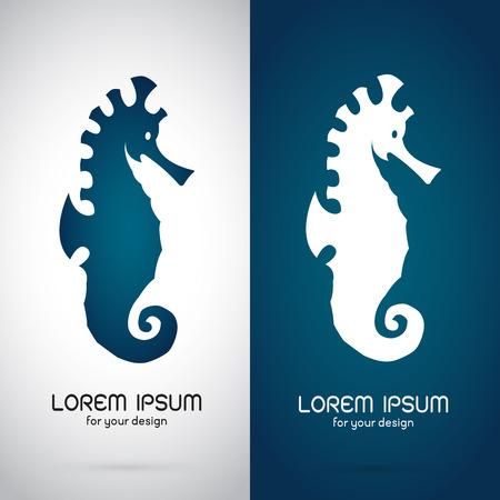 tatouage dragon: Vector image d'une conception de cheval de mer sur fond blanc et fond bleu, logo, un symbole Illustration