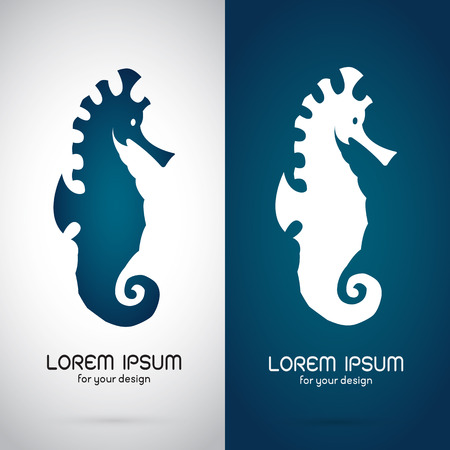 dragon fish: Vector image of an sea horse design on white background and blue background, Logo, Symbol Illustration