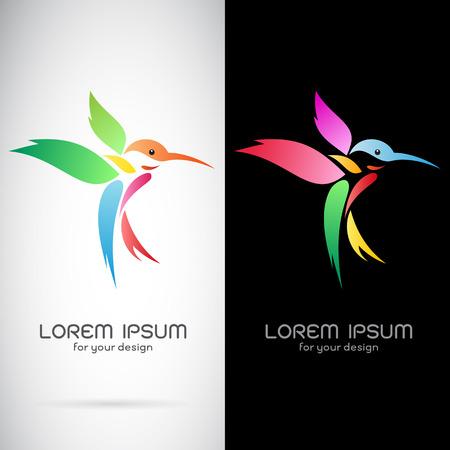 tatouage oiseau: Vector image d'une conception de colibri sur fond blanc et fond noir, Logo, Symbole