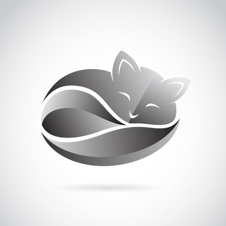 koty: Vector obraz wzoru kot na białym tle. Ilustracja