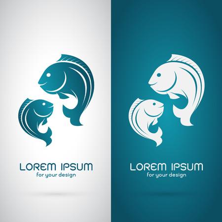 Vector afbeelding van een vis ontwerp op een witte achtergrond en blauwe achtergrond, Logo, Symbool Stock Illustratie