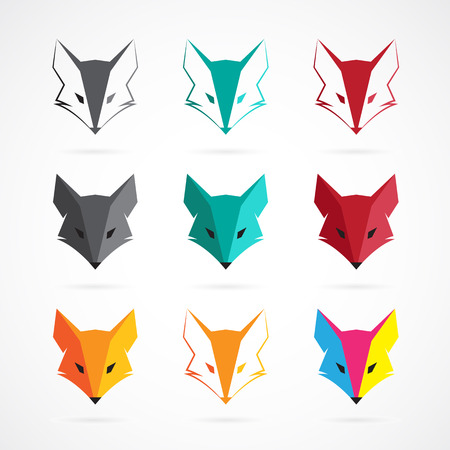 zorro: Imagen vectorial de un diseño de la cara de zorro en el fondo blanco Vectores