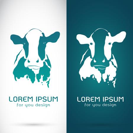 Vector Bild von einer Kuh auf weißem Hintergrund und blauen Hintergrund