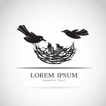 Vector image of an birds family in love on white background. Çizim