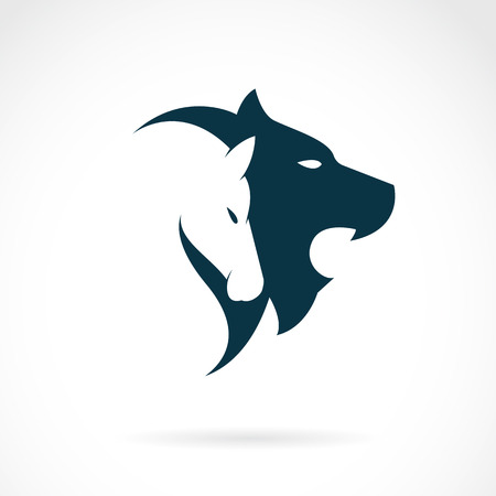 Vector image of an lion head and horse head on white background Ilustração