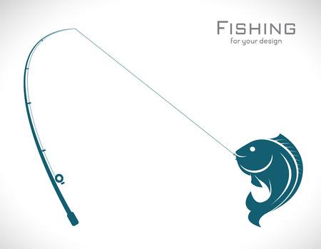 흰색 배경에 낚싯대의 이미지와 물고기