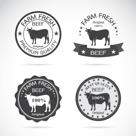 Set of vector an cow label on white background
