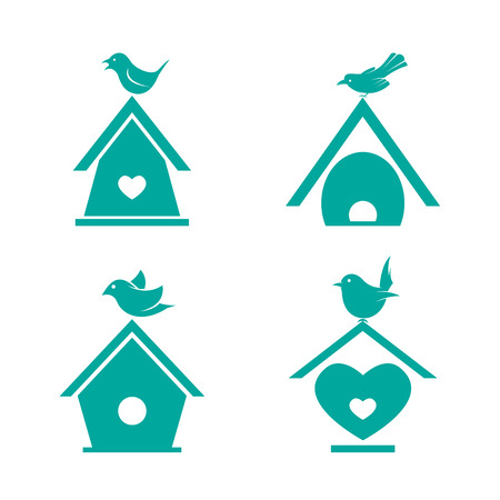 aviary: Vector group of bird houses on white background. Illustration