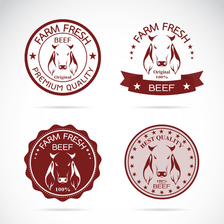 pastures: Set of vector cow labels on white background