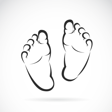 huella pie: Imagen del vector del diseño del pie del bebé en el fondo blanco