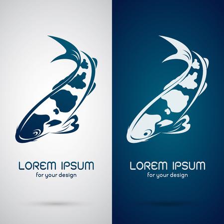 logo poisson: image vectorielle d'une conception de la carpe koi sur fond blanc et fond bleu, logo, Symbole Illustration