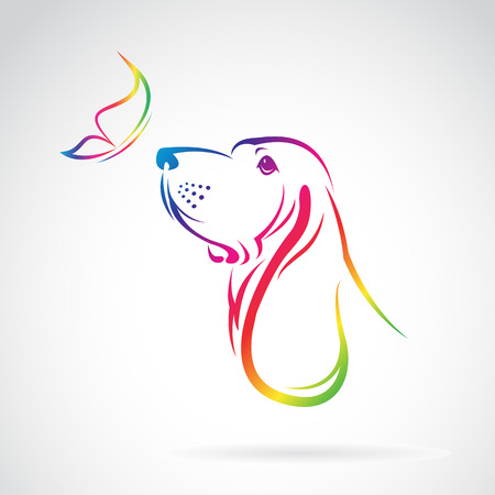 sniffer: Vector image of dog and butterfly on white background