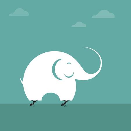 hormiga caricatura: Imagen del vector de elevación hormiga a un elefante. concepto imposible