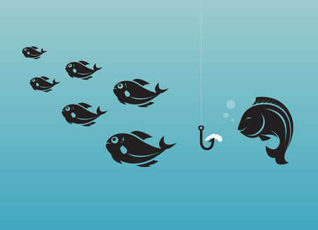 earthworm: Vector image of fish and earthworm and hook. Different concept. Illustration