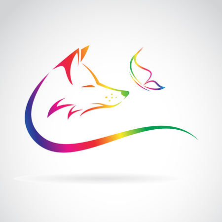 Vector image of fox and butterfly on white background Vectores