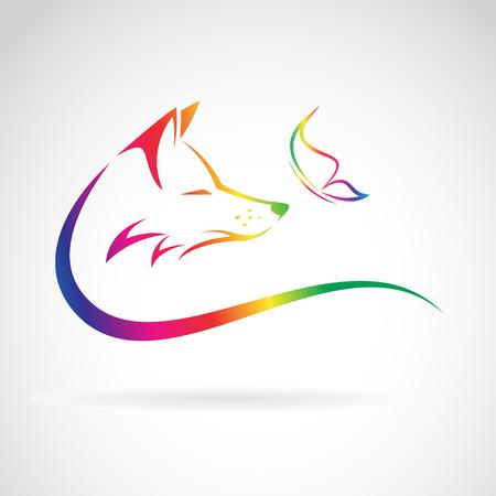 cartoon mariposa: Imagen del vector de zorro y mariposa en el fondo blanco