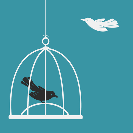 biased: Vector image of a bird in the cage and outside the cage. Freedom concept
