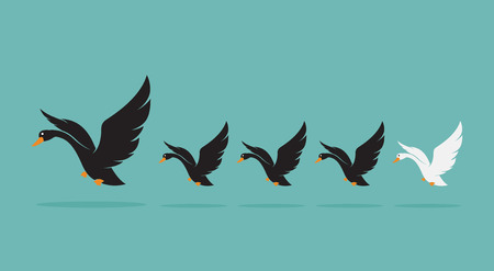 Vector image of a herd of swan on blue background, Difference concept Illustration