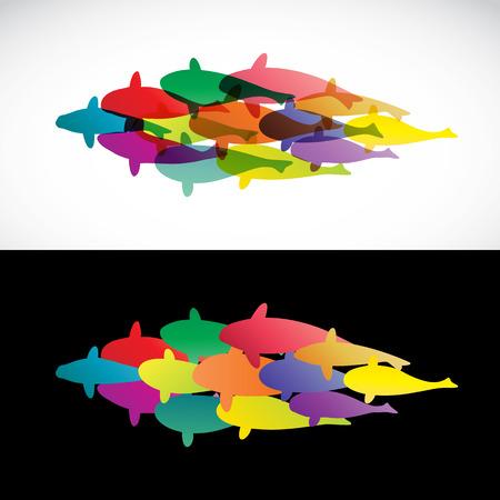 Fish design on white background and black background  - Vector Illustration, koi