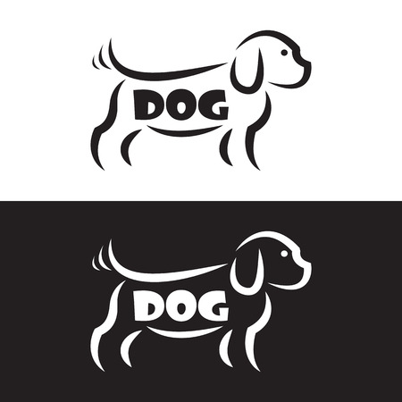 Vector image of an dog design on black background and white background, Logo, Symbol Illustration