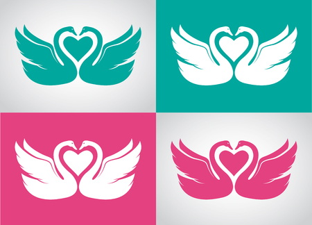 wedding couple: Vector image set of two loving swans design