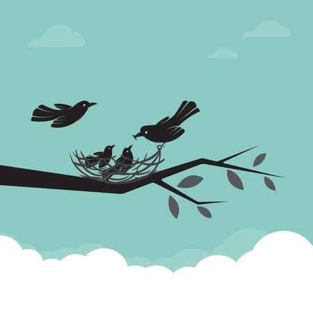 Familie van vogels die het voeden van de baby, illustratie.