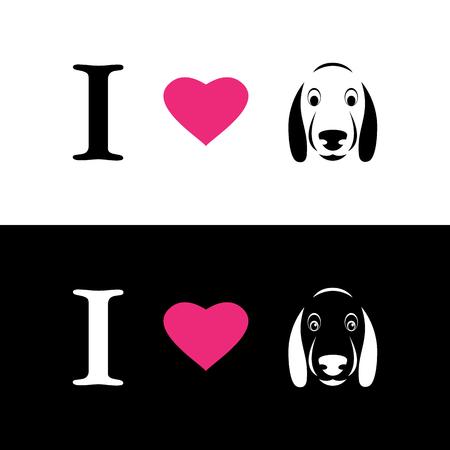 saint valentine: I love dogs symbolic message on white background and black background Illustration