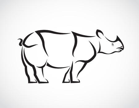 endangered: Vector image of a rhinoceros design on white background