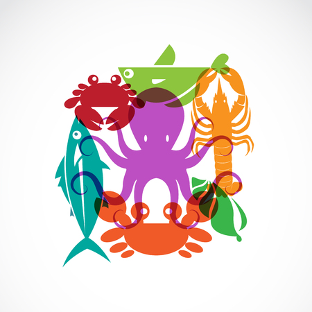 japanese food: Vector set of seafood symbols on white background