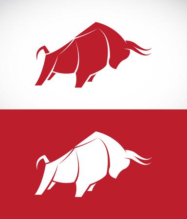 toros bravos: Imagen del vector del dise�o del toro en el fondo blanco y fondo rojo, logotipo, s�mbolo Vectores