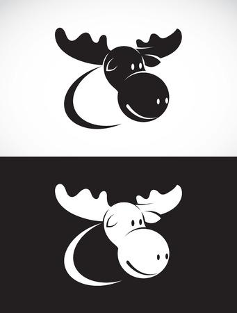 big moose: Vector image of moose design on white background and black background, Logo, Symbol