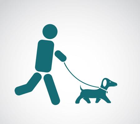 dog walker: Vector image of an walking dog on white background Illustration