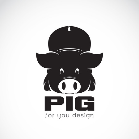 cochinitos: Vector de imagen de un diseño del cerdo en el fondo blanco