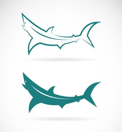 logo poisson: Les images vectorielles de la conception des requins sur un fond blanc.