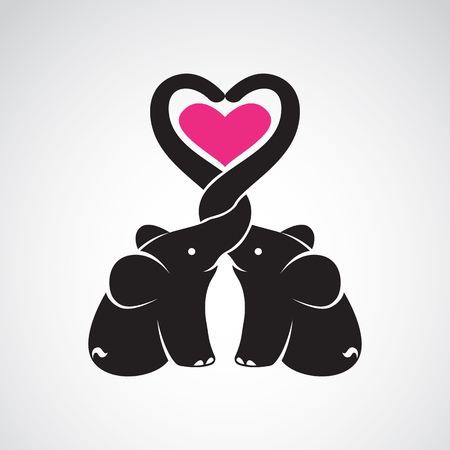 Vector image of elephant and heart on white background, The expression of love