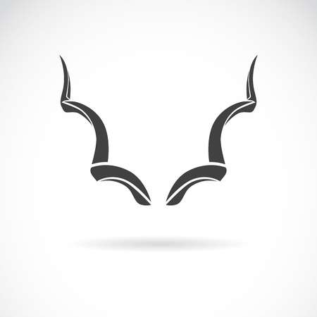 tribal animals: Vector image of an horns on a white background, Greater Kudu