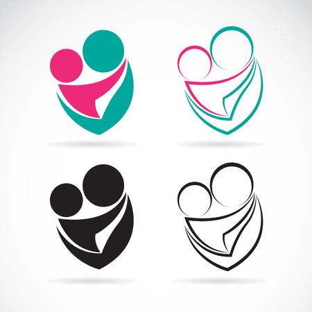 nacimiento: Vector icono de imagen de una madre y el bebé en el fondo blanco, expresión de amor