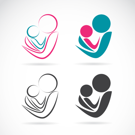 mother and baby son: Vector icon image of an mom and baby on white background, Expression of love