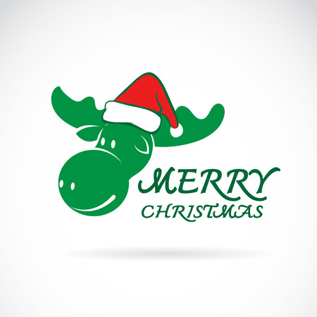 santa moose: Vector image of an moose and santa hats on blue background. Merry christmas Illustration