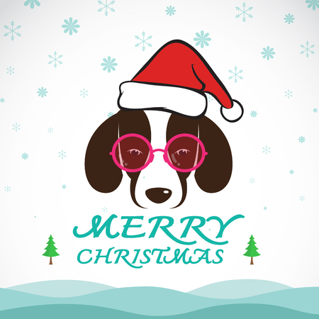 santa claus hats: Vector merry christmas greeting dog card on whiet background